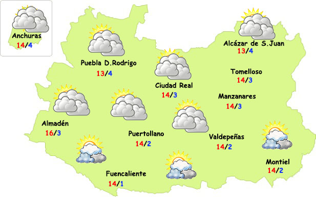 El tiempo en Ciudad Real: mucha nube pero poca lluvia