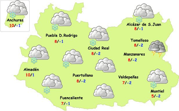 Previsión especial: jueves invernal en Ciudad Real