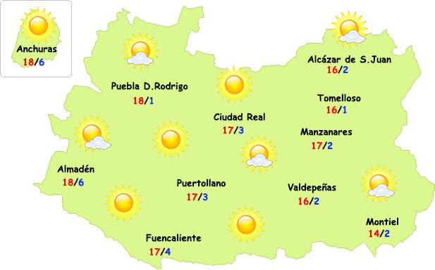 El tiempo en Ciudad Real: menos frío