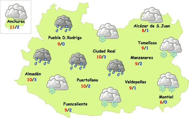 La semana comenzará con lluvia, más frío e incluso nieve en Ciudad Real