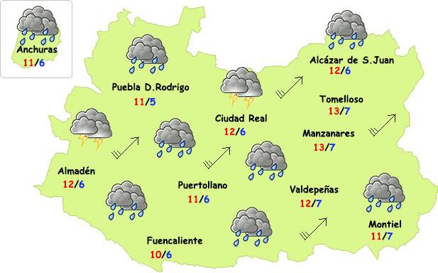 Vuelven las lluvias y el viento a la provincia de Ciudad Real