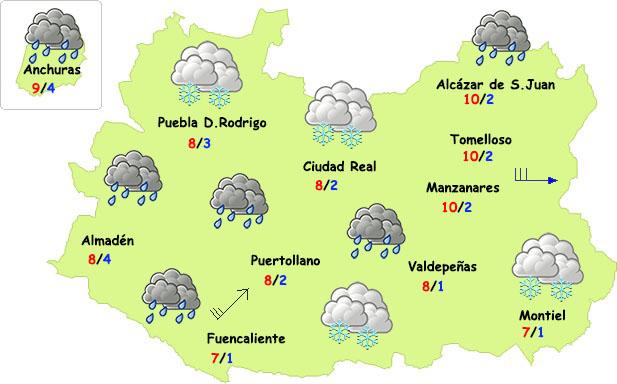 Lluvia, viento, frío y...hasta nieve el último fin de semana del invierno en Ciudad Real