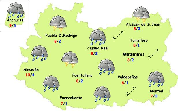Lunes de lluvia, viento y frío en Ciudad Real