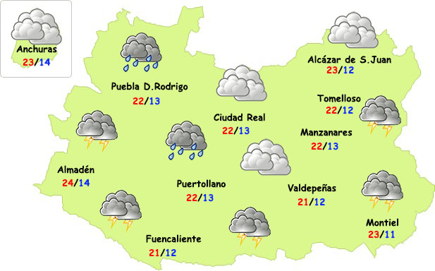 Chubascos y tormentas las próximas horas en la provincia de Ciudad Real