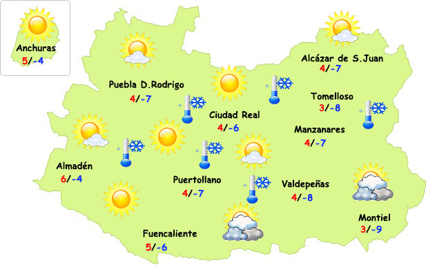 Frío intenso y, ¿nieve? en Ciudad Real