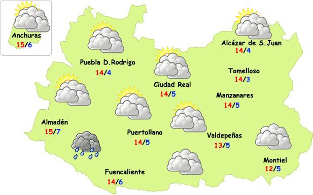 El tiempo en Ciudad Real: nubes pero sin lluvia
