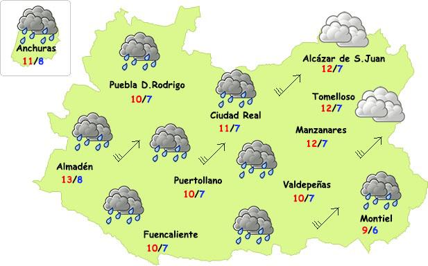 Temporal de lluvia y viento en ciernes en Ciudad Real