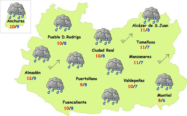 El tiempo en Ciudad Real: seguirán las lluvias