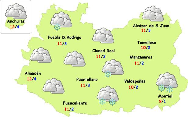 Posible aparición de nieve en la provincia de Ciudad Real las próximas horas