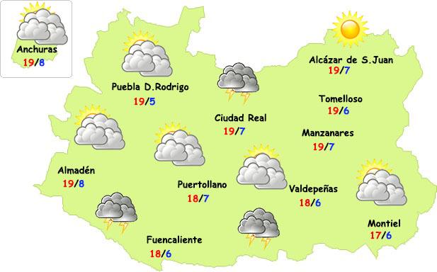 El tiempo en Ciudad Real: menos tormentas y menos frío