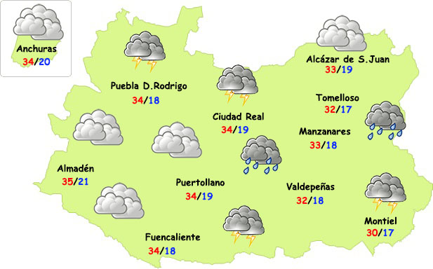 Breve episodio de tormentas las próximas horas en Ciudad Real