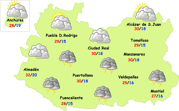 Este viernes regresan las tormentas a parte de Ciudad Real