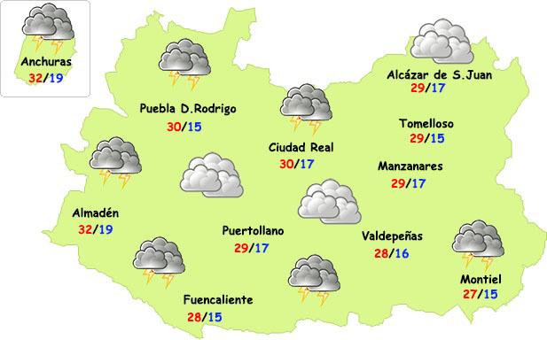 Nubes y algunas tormentas este fin de semana en Ciudad Real