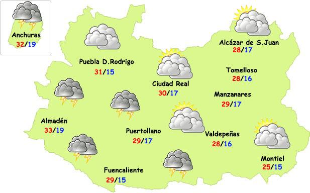 Vuelven las tormentas a parte de Ciudad Real con menos calor