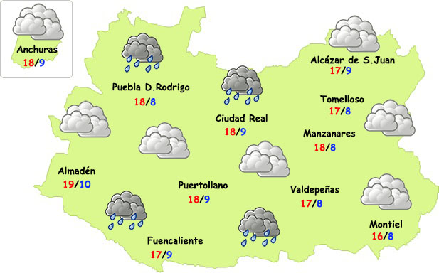 Nuevas lluvias llegarán a Ciudad Real el fin de semana