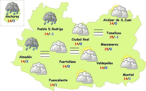 Un débil frente volverá a afectar a la provincia de Ciudad Real