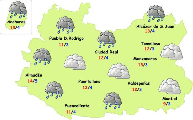Primera parte de la semana con lluvias y fresco en Ciudad Real