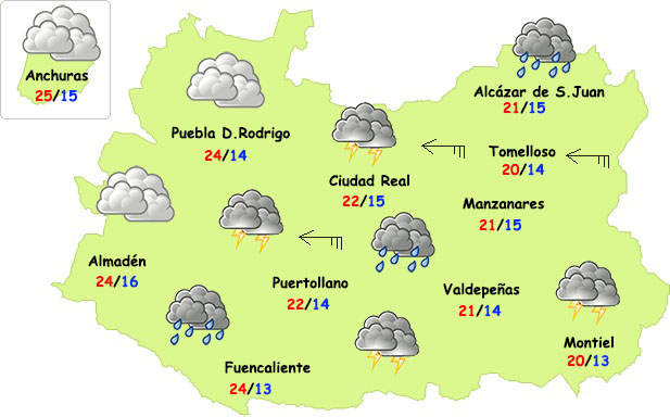 Tiempo adverso este viernes en la provincia de Ciudad Real