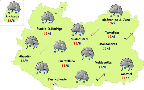 Viernes de lluvia y mucho viento en Ciudad Real