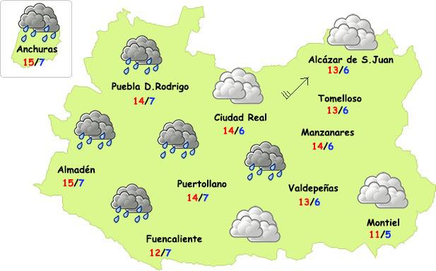 Comienza la semana con nubes y lloviznas en Ciudad Real
