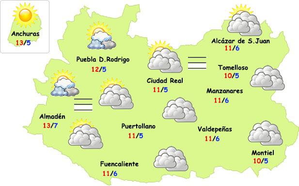 El tiempo en Ciudad Real: menos nubes y más nieblas