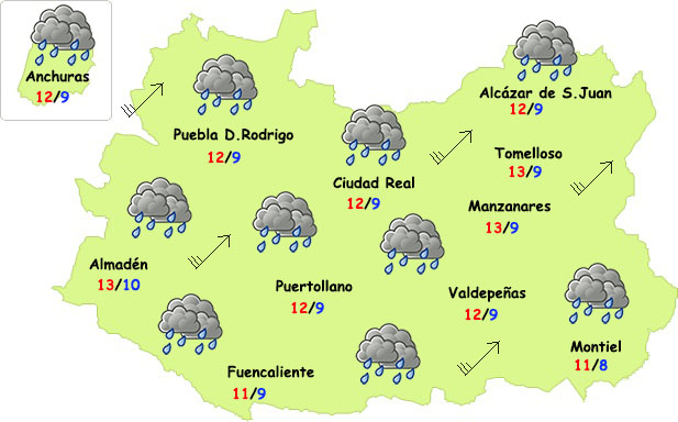 Temporal de lluvias y viento en Ciudad Real