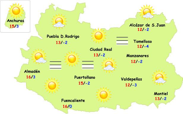 El tiempo en Ciudad Real: heladas, nieblas y sol