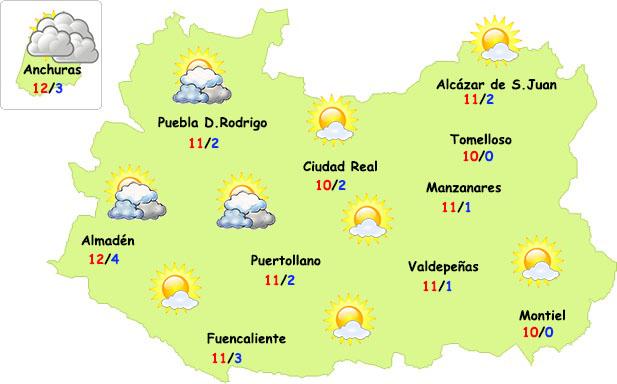 El tiempo en Ciudad Real: más nubes y menos heladas