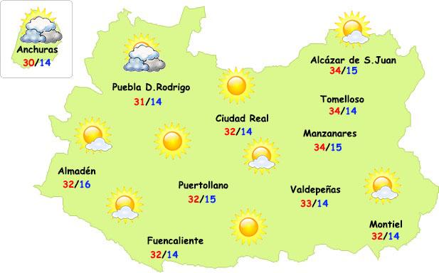 Este lunes llegaremos al techo de la entrada cálida en Ciudad Real