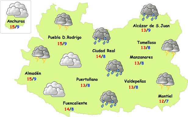 Martes de nuevas lluvias y frío en Ciudad Real
