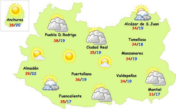 Lunes de sol y calor, sobre todo en Almadén, a la espera de posibles tormentas el martes