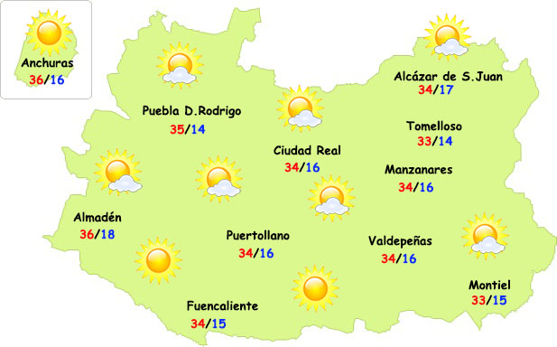 El tiempo en Ciudad Real: fin de semana caluroso