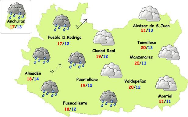 El tiempo en Ciudad Real: algunas lluvias (débiles) y bajada de temperaturas