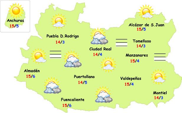 El tiempo en Ciudad Real: menos nubes y más frío