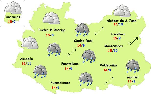 El tiempo en Ciudad Real: lluvia (poca), viento y frío