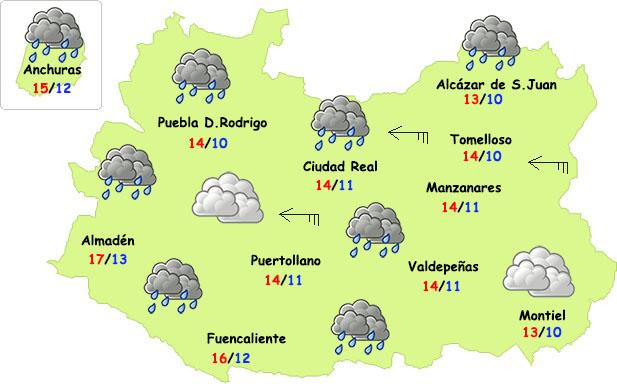 El tiempo en Ciudad Real: jueves de chubascos, viento y fresco