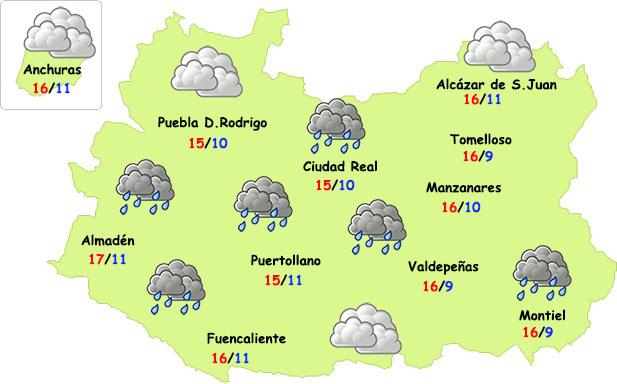 El tiempo en Ciudad Real: lluvia débil y bastante fresco