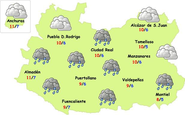 El tiempo en Ciudad Real: menos frío y lluvias débiles