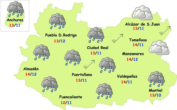 El tiempo en Ciudad Real: lluvia débil, viento y subida de temperaturas