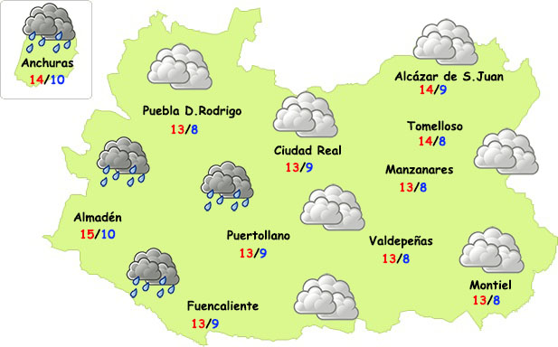 El tiempo en Ciudad Real: vuelven las lloviznas con ligera bajada de temperaturas