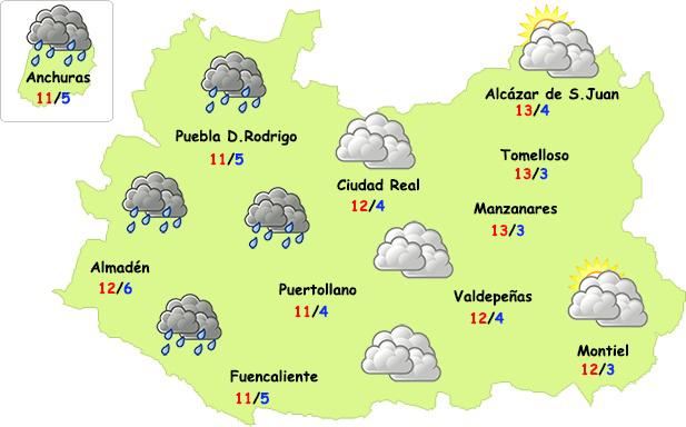 El tiempo en Ciudad Real: débil frente el miércoles por la noche y frío contenido