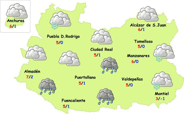 El tiempo en Ciudad Real: débil inestabilidad, intenso frío y nieve en zonas altas