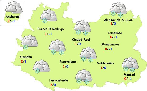 Jueves de nevadas en Ciudad Real