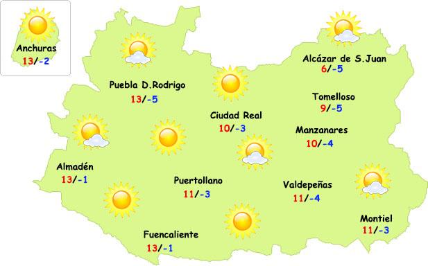 El tiempo en Ciudad Real: siguen las heladas, pero con mediodías más suaves