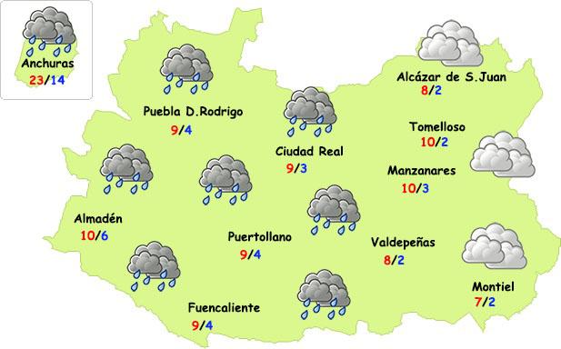 Vuelven las (débiles) lluvias a Ciudad Real y desaparecen las heladas