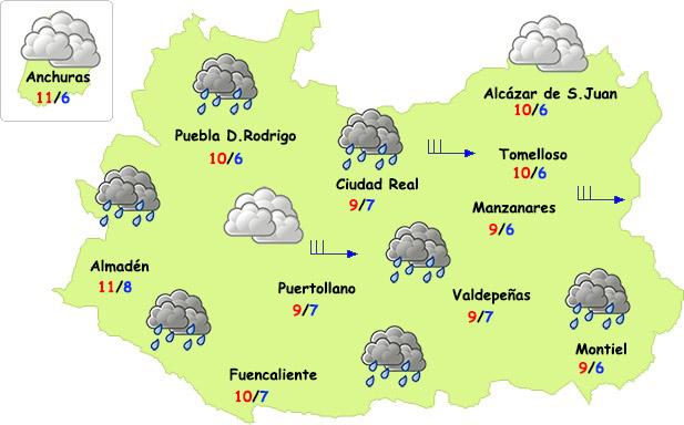 Lunes de lluvias (sobre todo de madrugada) y frío en Ciudad Real
