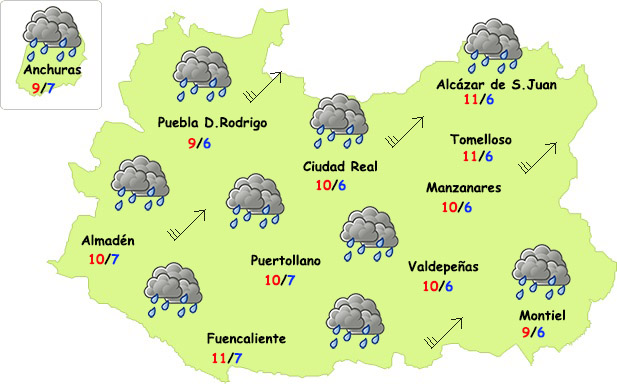 El tiempo en Ciudad Real: martes de fuerte viento y lluvia por la tarde