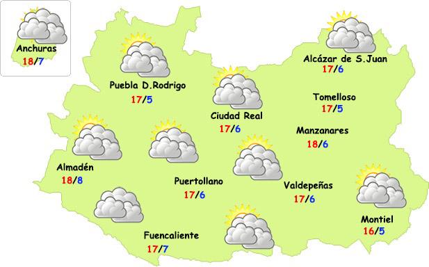 El tiempo en Ciudad Real: nubes sin casi precipitaciones