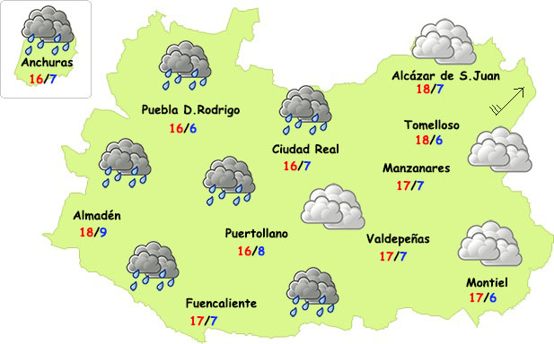 El tiempo en Ciudad Real: lluvias de tarde por el oeste