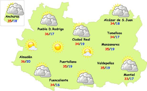 El tiempo en Ciudad Real: martes de nubes de evolución y mucho calor
